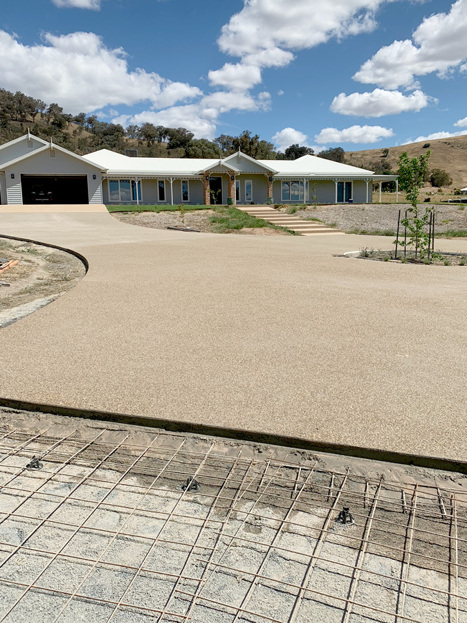 Large exposed aggregate driveway