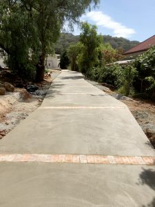 Plain concrete with brick edging